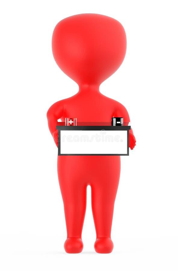 rött tecken som 3d rymmer ett batteri med realiteten för röd färg och den negativa markeringen för svart färg royaltyfri illustrationer