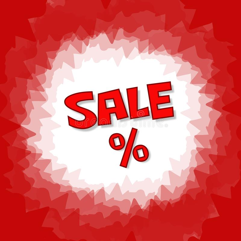 Rött textförsäljnings- och procentbaner Röd symbols-, textur- och vektorbakgrund i fyrkantigt format royaltyfri illustrationer