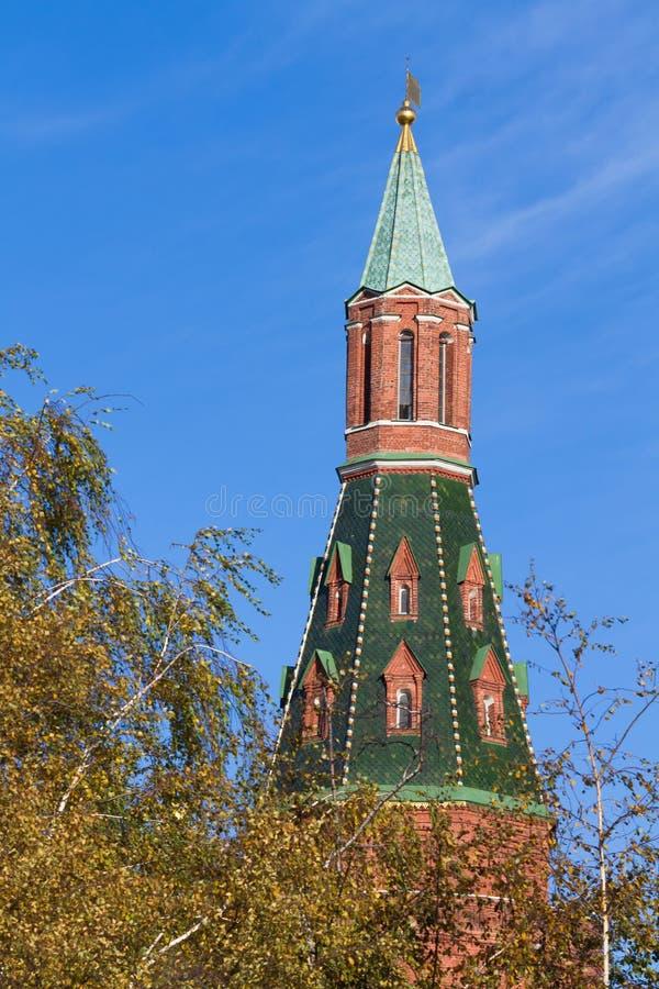 Rött torn av MoskvaKreml under trädet arkivbilder