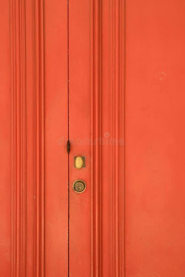 rött trä för dörr royaltyfri bild