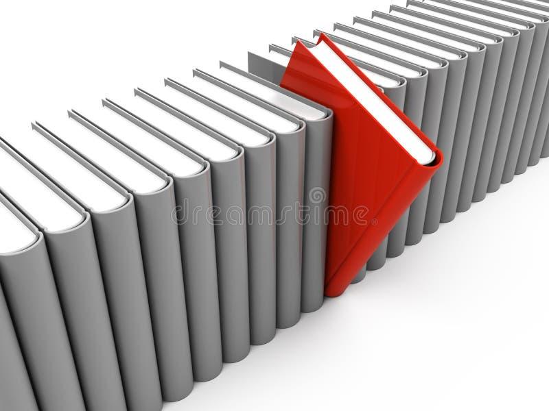 rött unikt för bok en stock illustrationer