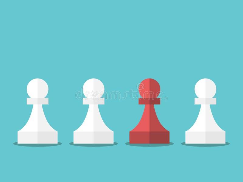 Rött unikt schack pantsätter vektor illustrationer