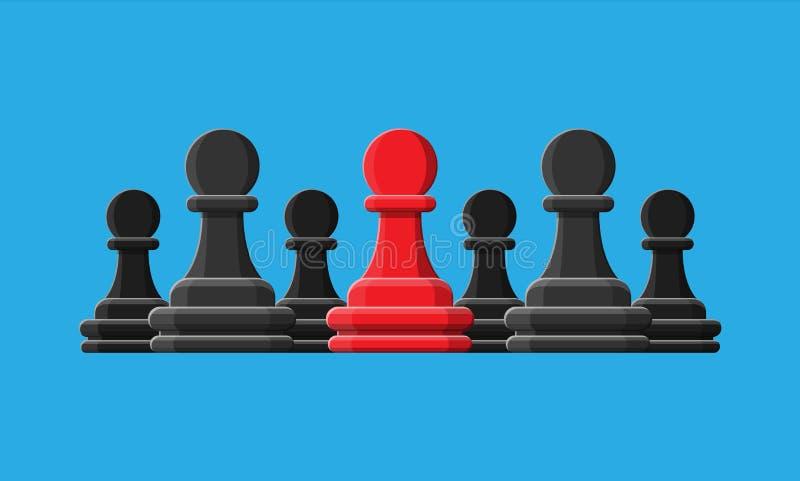 Rött unikt schack pantsätter anseende bland grå färger en stock illustrationer