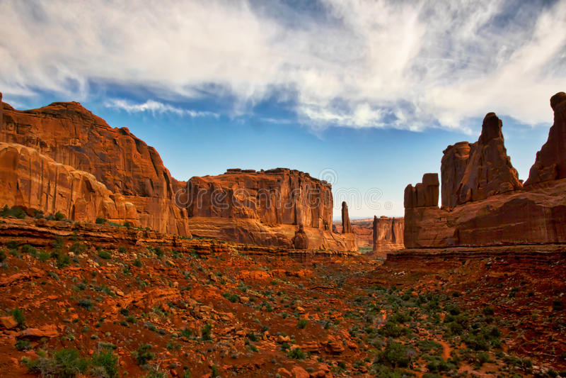 Rött vagga kanjoner i Moab royaltyfri bild