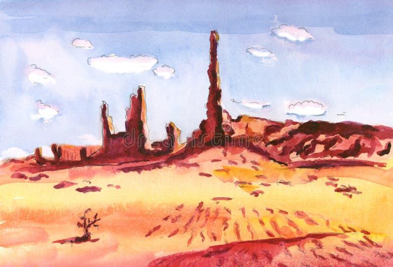 Rött vaggar i öknen gjuter långa skuggor på den gula sanden royaltyfri illustrationer