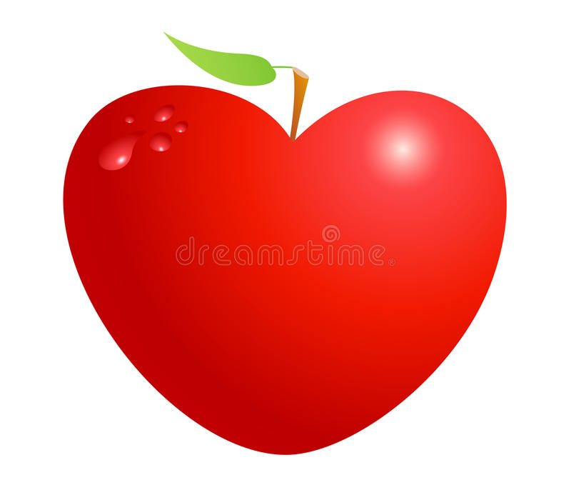 Rött valentinhjärtaäpple som isoleras på vit bakgrund Symbol av förälskelse, liv, hälsa och kamratskap royaltyfri illustrationer