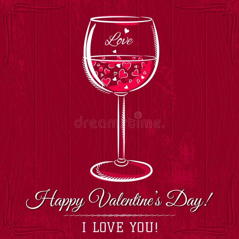 Rött valentinkort med exponeringsglas av vin och önska stock illustrationer