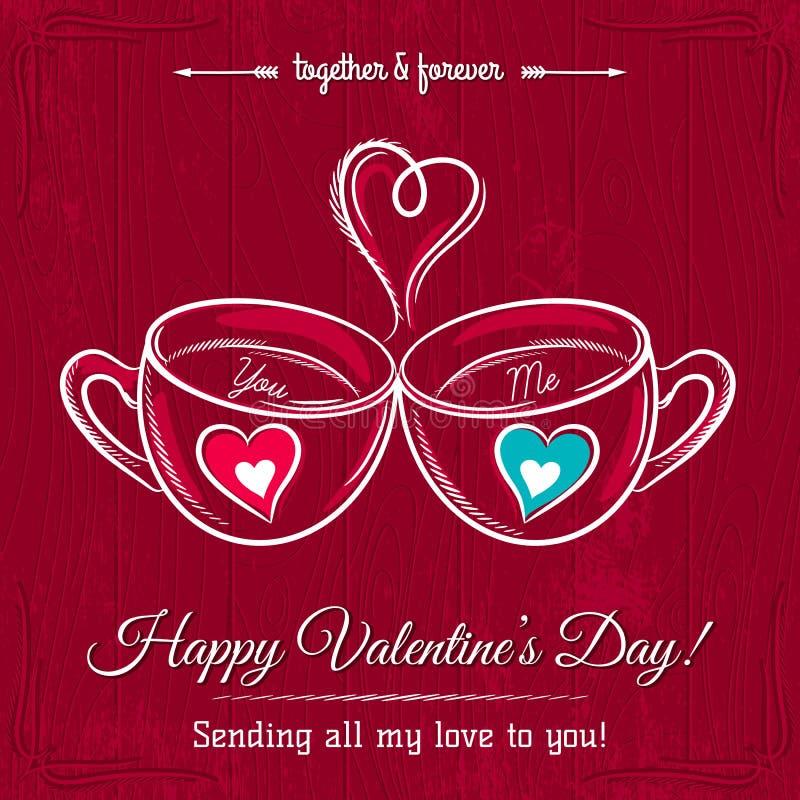 Rött valentinkort med två kopp av den varma drinken royaltyfri illustrationer