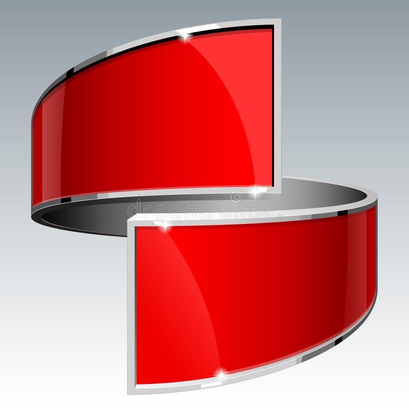 Rött vektorbaner eps 10 för skinande glans vektor illustrationer