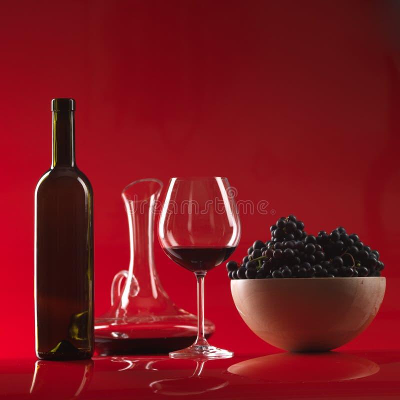 rött vin för kanna för druvor för flaskexponeringsglas royaltyfria foton