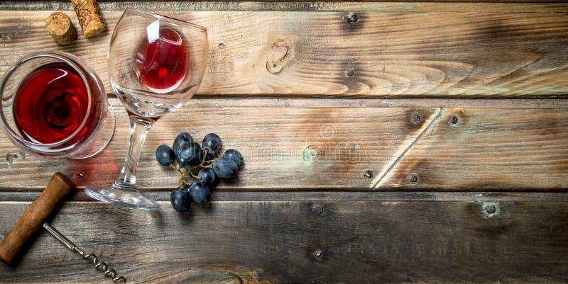 Rött vin i ett exponeringsglas med druvor och en korkskruv royaltyfri fotografi