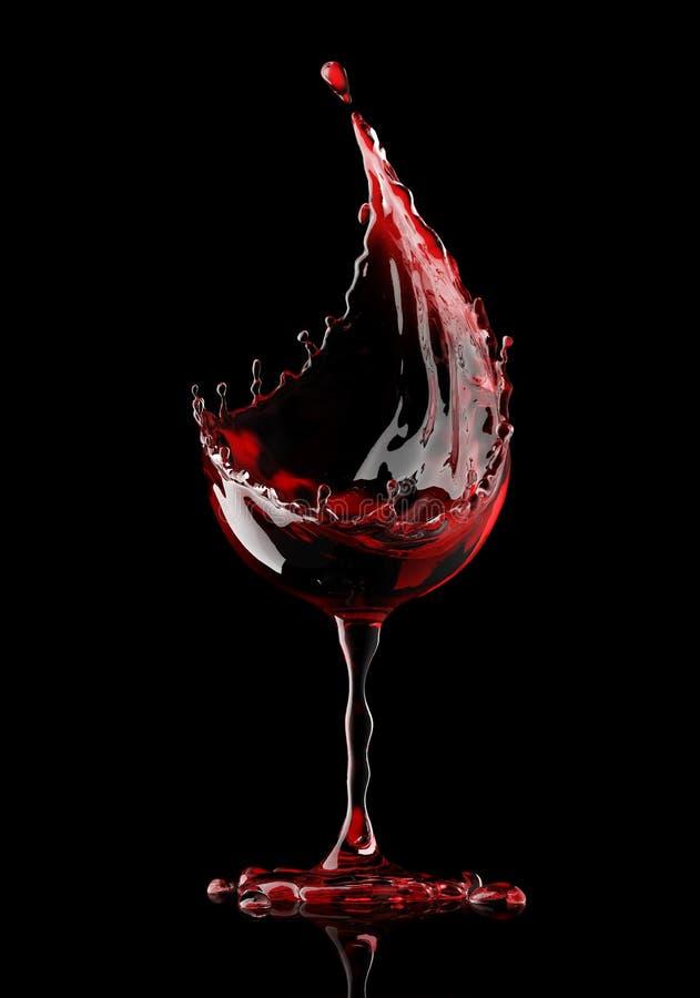 Rött vinexponeringsglas på svart bakgrund stock illustrationer