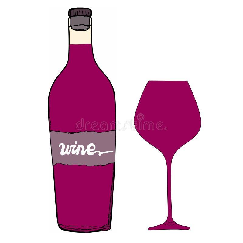 Rött vinflaska med vinexponeringsglas Handen drog vektorn skissar stock illustrationer