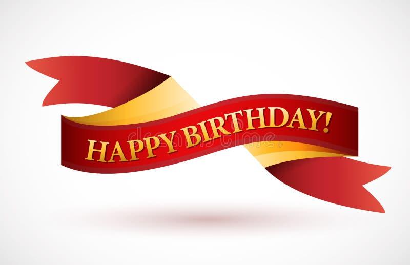 Rött vinkande bandbaner för lycklig födelsedag stock illustrationer