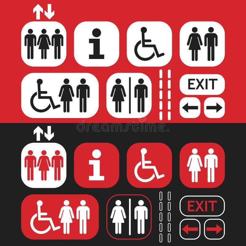 Rött, vit och svart tecken och symboler för offentligt tillträde ställ in stock illustrationer