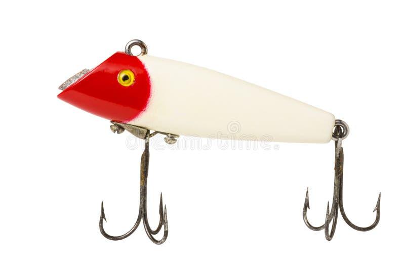Rött & vitt fiskedrag arkivfoto