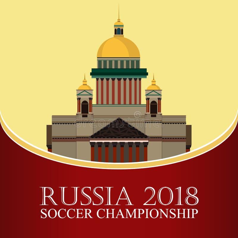 Rússia 2018 campeonatos do mundo Bandeira do futebol Ilustração lisa do vetor esporte Imagem da catedral do ` s do St Isaac ilustração do vetor