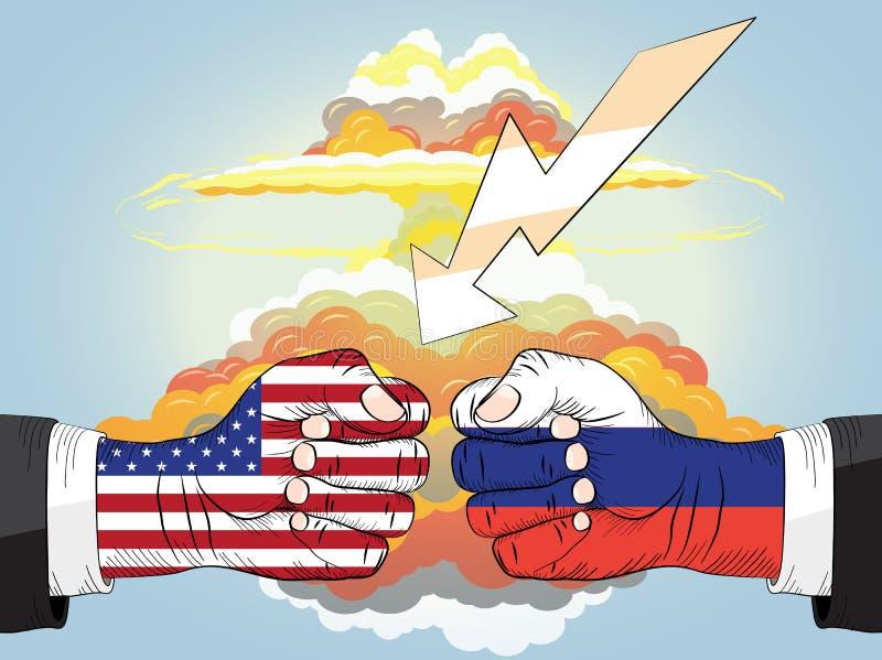 Rússia contra EUA, explosão nuclear Punhos no impacto ilustração royalty free
