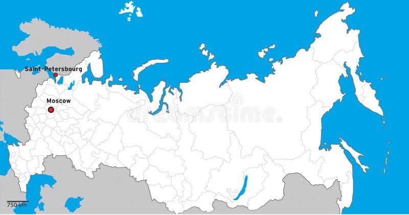 Rússia detalhou o mapa ilustração stock