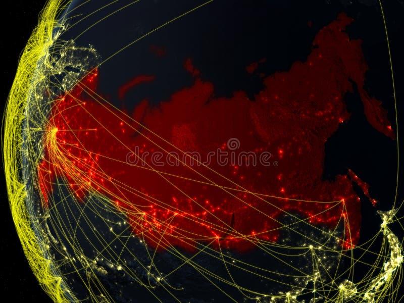 Rússia do espaço com rede imagens de stock