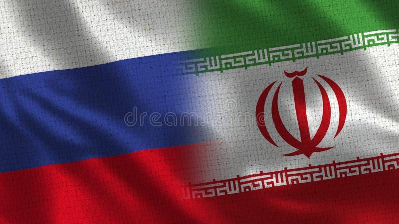 Rússia e Irã - bandeira dois junto - textura da tela ilustração do vetor