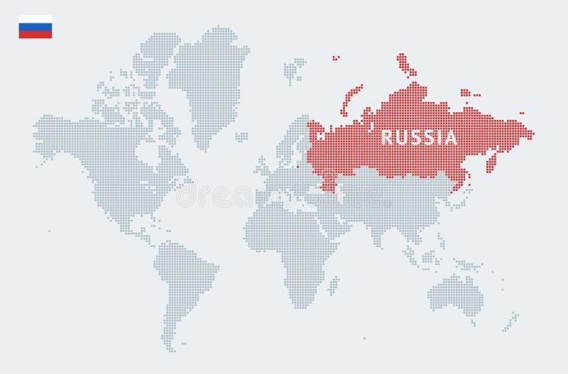 Rússia em um mapa do mundo abstrato ilustração do vetor