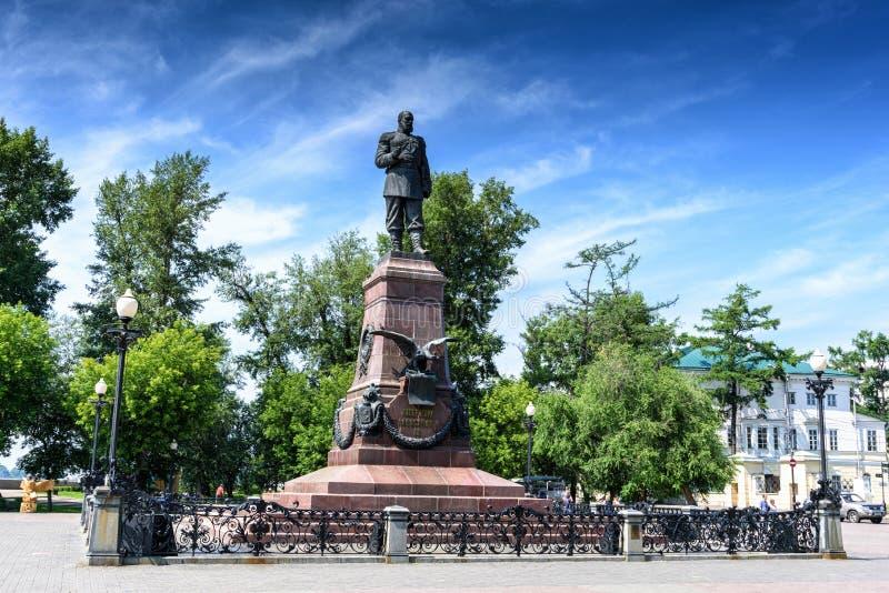 Rússia, Irkutsk - 6 de julho de 2019: Monumento a Alexander III Imperador do Todo-russo, rei do Pol?nia e pr?ncipe grande de foto de stock