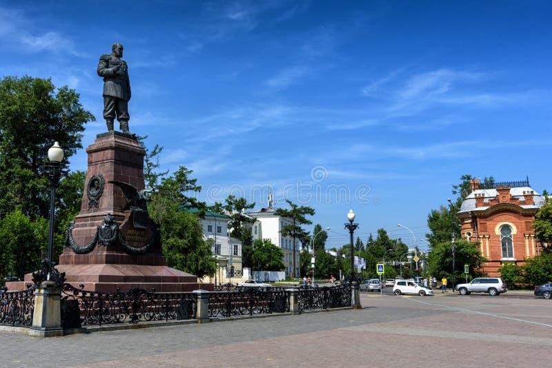Rússia, Irkutsk - 6 de julho de 2019: Monumento a Alexander III Imperador do Todo-russo, rei do Pol?nia e pr?ncipe grande de fotos de stock