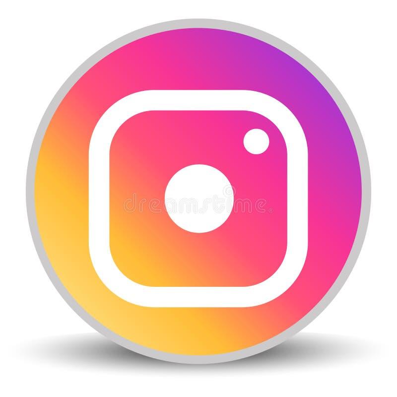 Rússia, Moscou - 29 de abril de 2019: Ícone da câmera do logotype de Instagram no fundo branco Instagram - pedido livre para comp ilustração royalty free