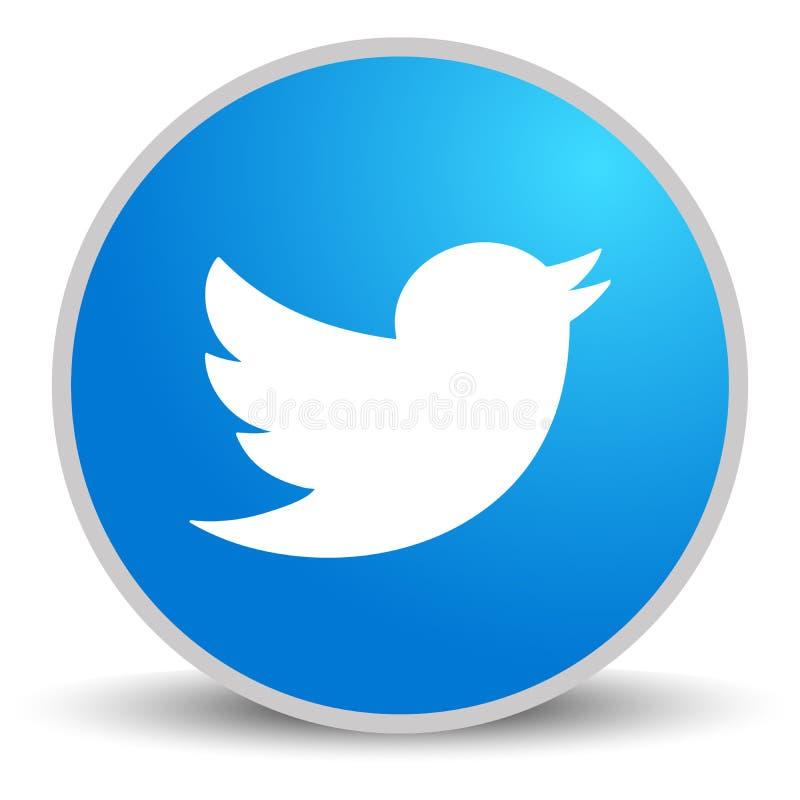 Rússia, Moscou - 29 de abril de 2019: Logotype de Twitter impresso no papel Twitter ? uns trabalhos em rede sociais em linha ilustração royalty free