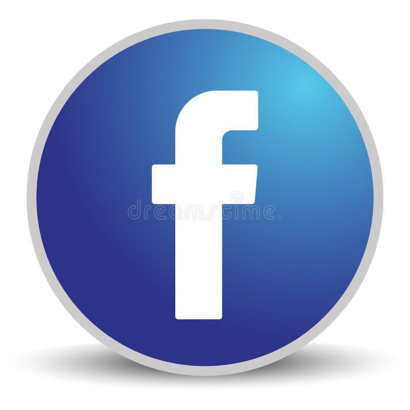 Rússia, Moscou - 29 de abril de 2019: Sinal do logotipo de Facebook no fundo branco Facebook ? um servi?o social conhecido dos tr ilustração stock