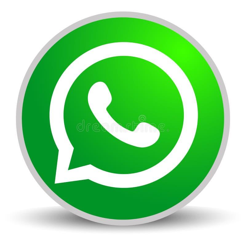 Rússia, Moscou - 29 de abril de 2019: Sinal do logotipo de WhatsApp no fundo branco WhatsApp é um app das mensagens instantâneas  ilustração do vetor