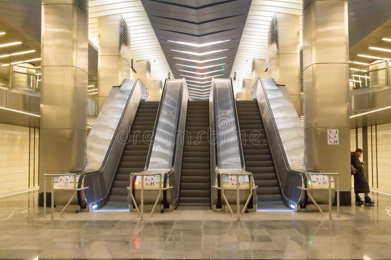 Rússia, Moscou, estação de metro do centro de negócios imagem de stock