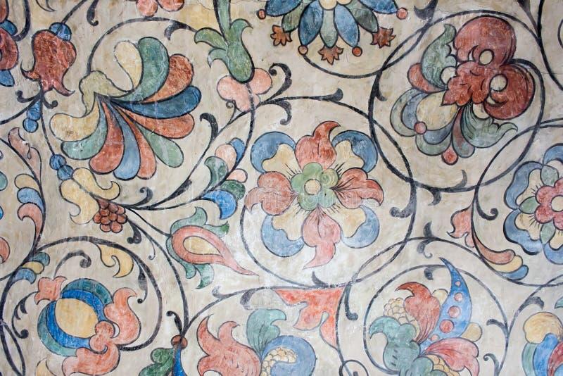 Rússia, Moscou, ornamento florais do teto da catedral do ` s da manjericão do St imagens de stock