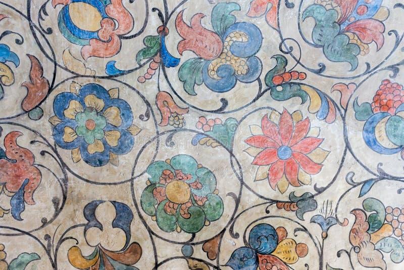 Rússia, Moscou, ornamento florais do teto da catedral do ` s da manjericão do St foto de stock royalty free