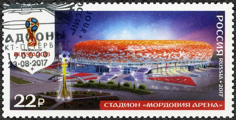 RÚSSIA - 2017: mostra o estádio arena em Saransk, Mordóvia, estádios da série, campeonato do mundo 2018 do futebol Rússia imagem de stock royalty free