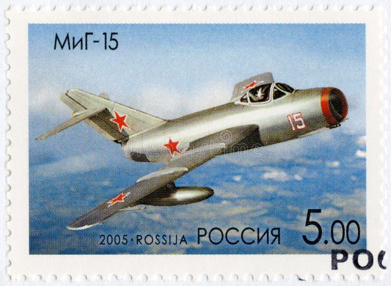 RÚSSIA - 2005: mostra o Mikoyan-Gurevich MiG-15, planos da série OKB por A Mim Mikoyan, desenhista dos aviões imagens de stock