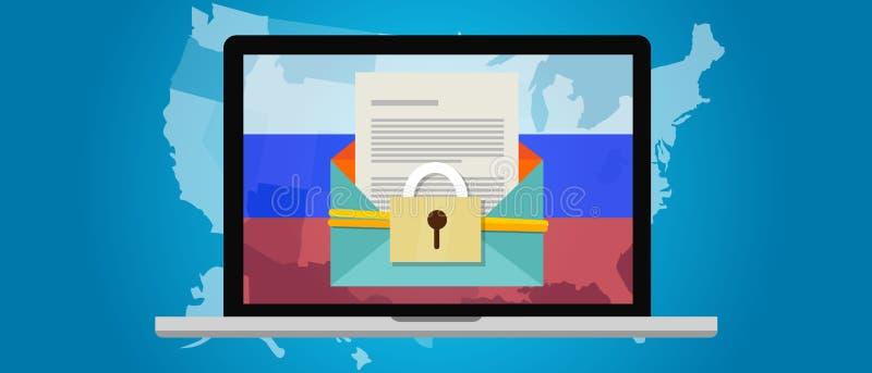 Rússia que corta a eleição América DNC dos E.U. ilustração do vetor
