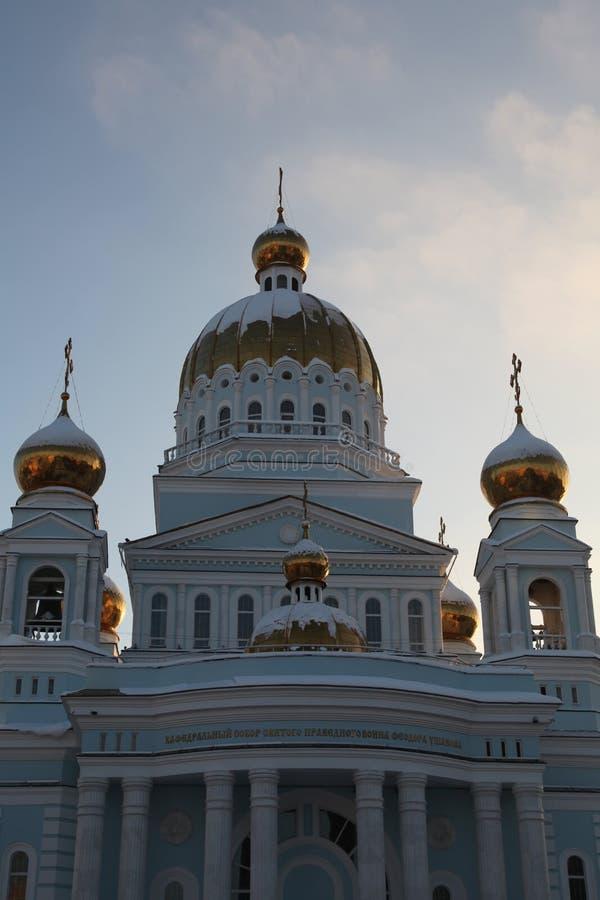 Rússia República de Mordóvia, catedral de St Theodore Ushakov em Saransk imagem de stock