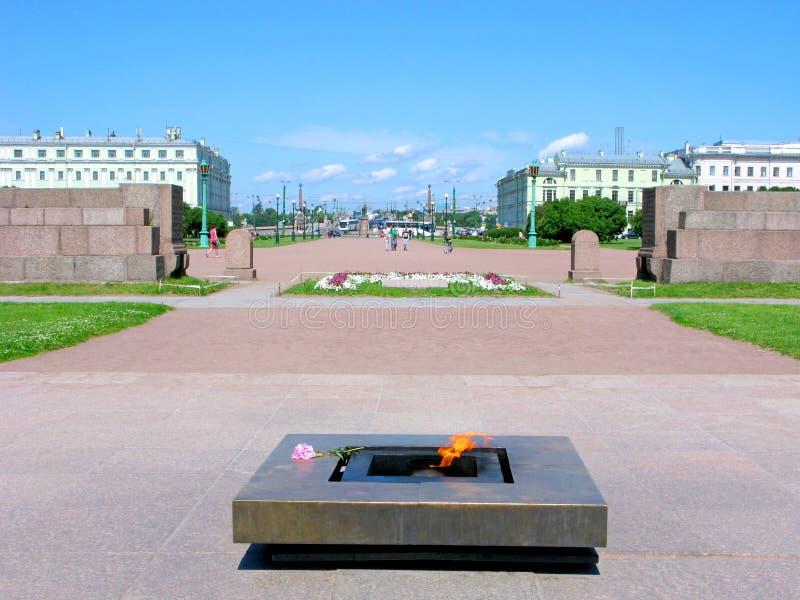 Rússia, St Petersburg, campo de Marte, chama eterno fotografia de stock royalty free