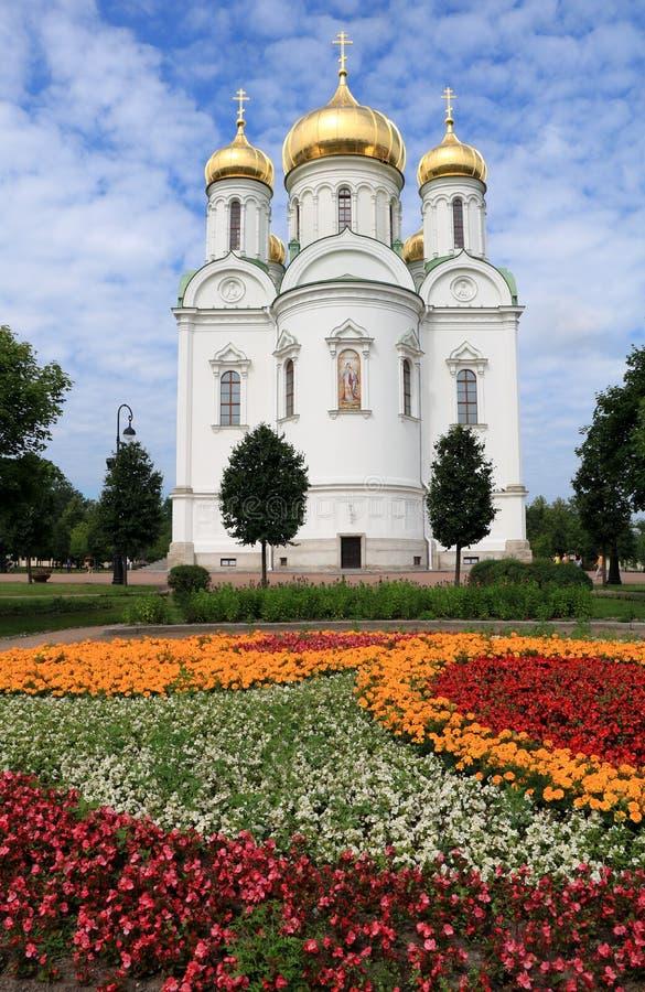 Rússia, St Petersburg, a cidade de Pushkin julho, 13,2018 Na catedral da foto de St Catherine, imagens de stock royalty free