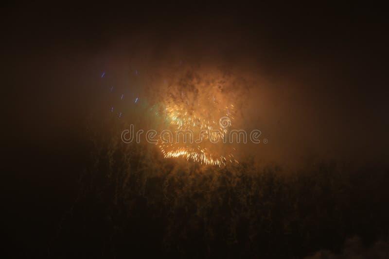 Rússia, St Petersburg, fogos-de-artifício da noite sobre o Peter e o Paul Fortress imagem de stock royalty free