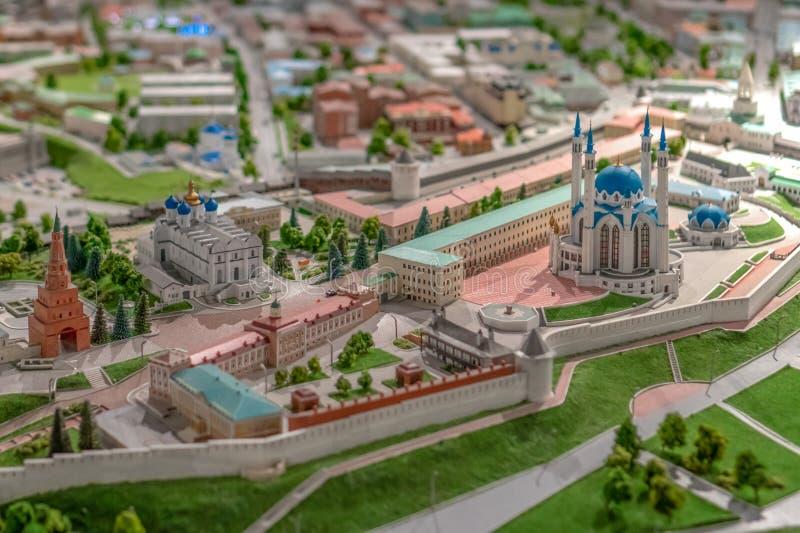 Rússia, Tartaristão, o 21 de abril de 2019 Um modelo pequeno da mesquita de Kul Sharif em Kazan imagens de stock