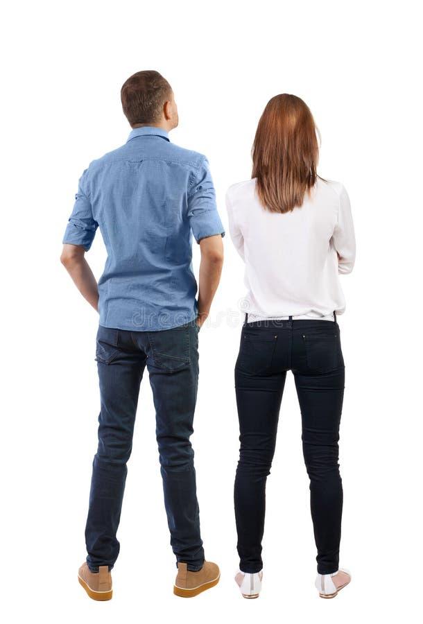 Rückansicht des Paares schöne freundliche Frau und Mann zusammen lizenzfreie stockfotos