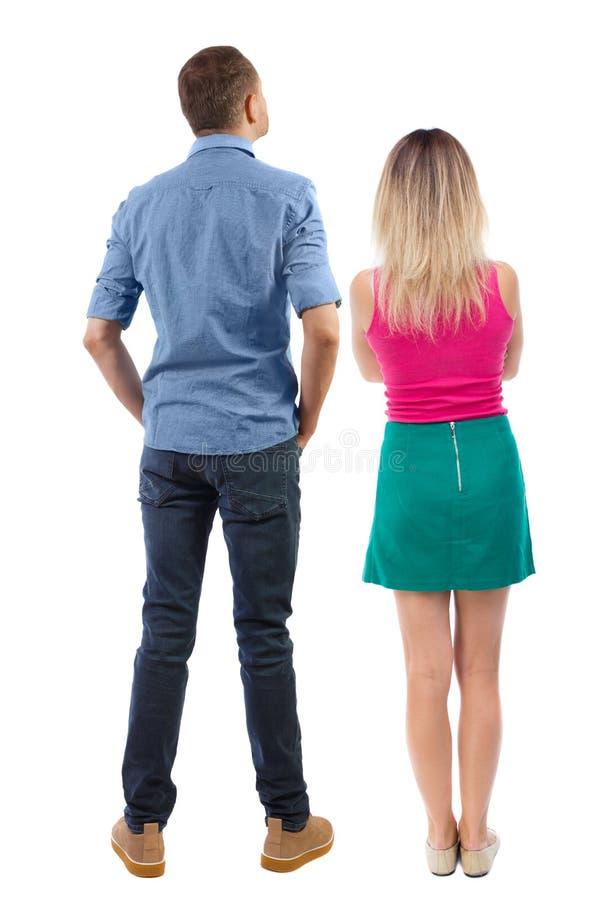Rückansicht des Paares schöne freundliche Frau und Mann zusammen lizenzfreie stockfotografie