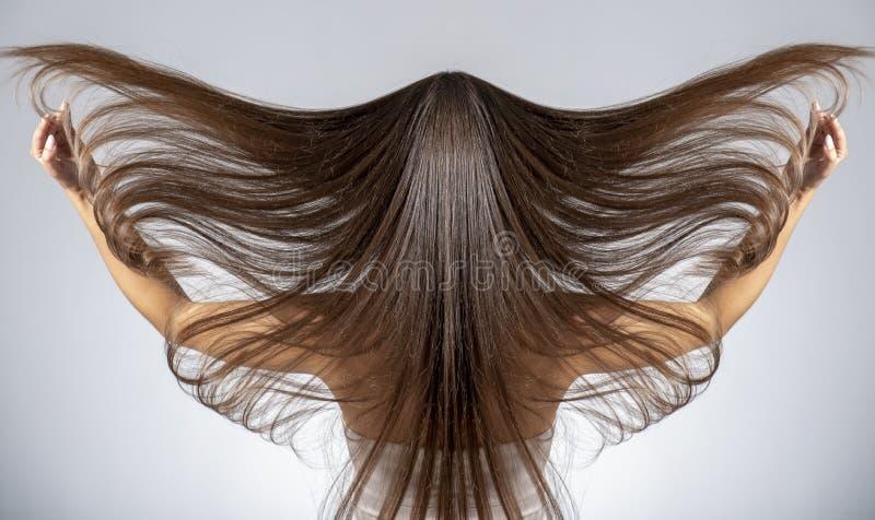 Rückansicht einer Brunette-Frau mit langgestrecktem Haar stockfotos