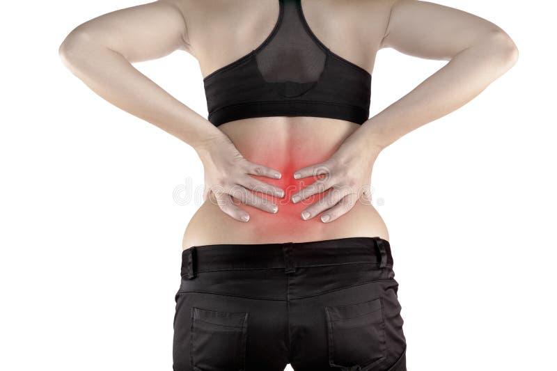 Rückenschmerzenfrau stockfotos