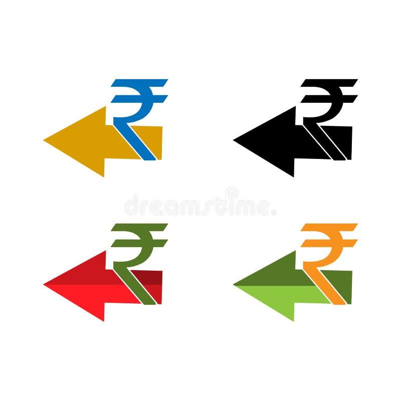 Rückerstattungsgeldikone, Rupienikone, gesetzte Ikone vektor abbildung