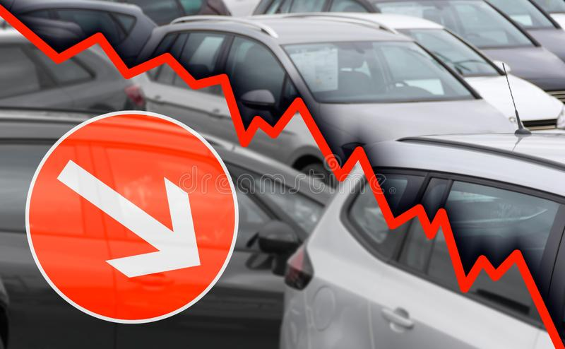 Decline car industry. The graph shows the development of sales figures stock photo