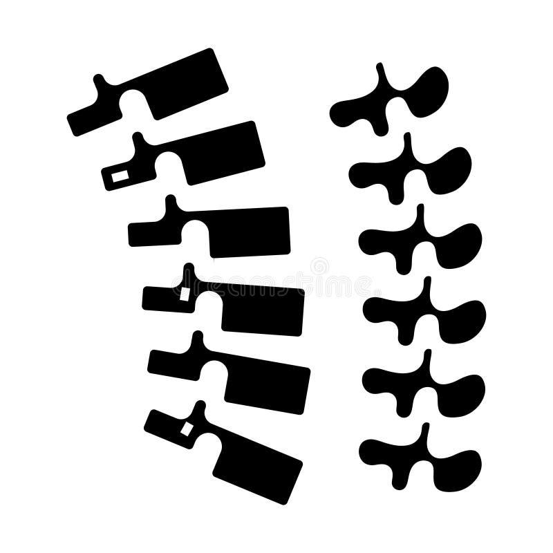 Rückgrat - Dornikone, Vektorillustration, schwarzes Zeichen auf lokalisiertem Hintergrund vektor abbildung